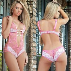 Womens Sexy-Lingerie Deep V Lace Dress Open Crotch Pajamas Babydoll Sleepwear US