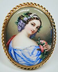 Antique 19th Century Swiss Enamel Victorian Young Lady Portrait 14k Gold Pin