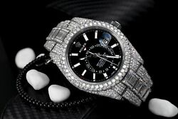 Rolex Sky Dweller Black Dial Stainless Steel 326934 Custom Diamond Watch with Ba