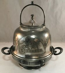 Antique Victorian Aesthetic Movement Silverplate Plated Covered Butter Dish Asis