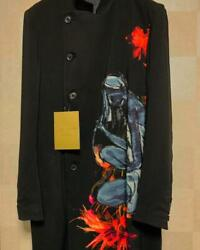 Yohji Yamamoto Pour Homme Black Graphic Long Jacket Mens Size 2 F/s From Japan