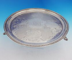 George Sharp Coin Silver Tray Round Cast And Applied Scroll W/feet 136 3528