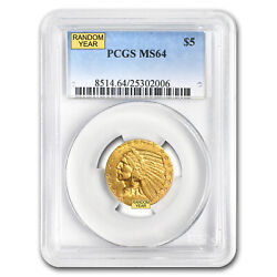 5 Indian Gold Half Eagle Ms-64 Pcgs