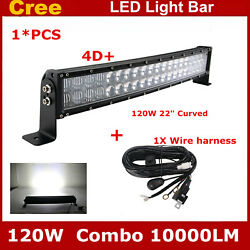 4d 22inch 120w Curved Led Light Bar Combo Boat Ford Suv Truck Offroad+wiring Kit