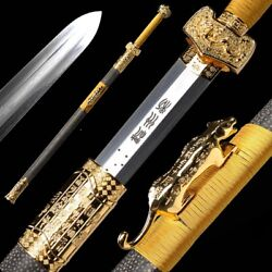 Military God Sword Refinings Pattern Steel Pure Copper Gold-plate Fittings 015