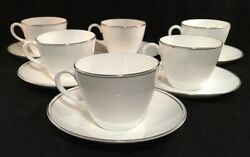 Set Of 6 Wedgwood Bone China Doric Pattern Silver Art Deco Rim Cup And Saucers
