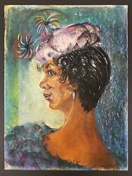 Vintage Chicago African American Artist Fine Art Oil Pastel Painting Fashion Hat