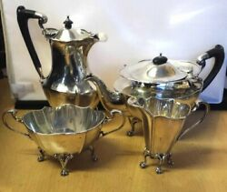 Fabulous Antique 1910 Fully Hallmarked Solid Silver 4-piece Tea Service Offers