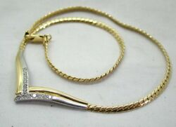 Beautiful Stunning Qualitytwo Colour 18 Carat Gold And Diamond Necklace