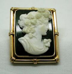 Beautiful Antique 15 Carat Gold Mounted Unusual Cameo Brooch