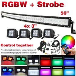 Curved 50 Inch 5d Led Light Bar And 4pcs 3 Pods Rgb Bluetooth Control And Wiring