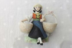 Fine German Porcelain Bisque China Figure A Lady Holding Two Baskets 13cms High