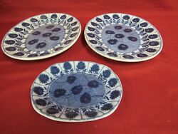 3 Piece Antique Minton China Aster Blue Aesthetic Service Collection