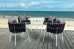 Leisuremod Spencer Rope 5 Piece Outdoor Bistro Patio Set Table And 4 Chairs