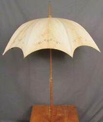 Antique 1900s Umbrella French Linen Wood Handle Collectible Rare Vintage F/s