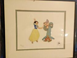 Disneys Snow White And Dopey 152/275 1977 Ltd. Ed. Hand Painted Movie Film Cels