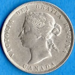 Canada 1874 H 25 Cents Twenty Five Cent Silver Coin - Very Fine
