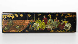Antique China 18c. Wood Pencil Box Chicken Cock Figth Imerial Court Scene Top