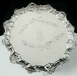 Antique Sterling Silver Crested Salver, Thomas Hannam And Richard Mills 1763