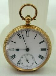 Superb Quality Antique 14 Carat Gold Engraved Key Wind Fob Watch