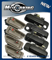Door Handle Set 8 For 97-01 Toyota Camry 4 Inside Tan + 4 Outside Gray 1C6 DH97