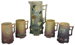 Weller Pottery Jewell Colorful Ceramic Pitcher And Four Mug Set