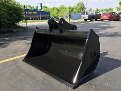 New 48 Yanmar Vio75 Ditch Bucket With Coupler Pins And Bolt On Edge