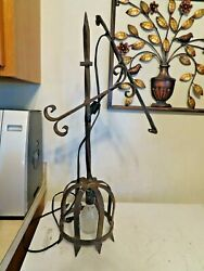 Vitnage Hammered Wrought Iron Gothic Style Wall Sconce Electric Lamp Ook