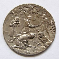 F806 1920's Boy Scout Scouting Sports Man Silvered Art Medal By Huguenin