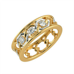 Natural Diamond 0.13ct Engagement Rings 14k Double-tone Gold Mens Bands Size 11
