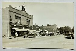 Rppc Real Photo Postcard Whitehall Michigan Main St Cars Storefronts 30's - 40's