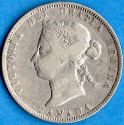 Canada 1883 H 25 Cents Twenty Five Cent Silver Coin - Fine+ (cleaned)