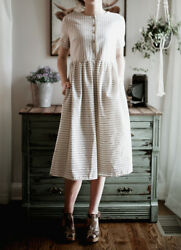 Vintage Style Cute peasant Linen Color Dress L Large Midi Stripes with Pockets