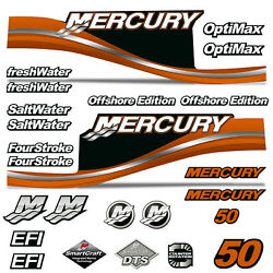 Mercury 50 Four 4 Stroke Decal Kit Outboard Engine Graphic Motor Stickers Orange