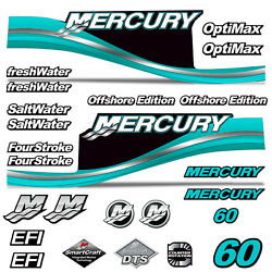 Mercury 60 Four 4 Stroke Decal Kit Outboard Engine Graphic Motor Stickers Teal
