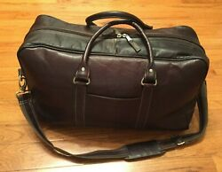 Heritage Cabin Duffel Leather Travel Bag W Shoulder Strap By Latico Nj Usa
