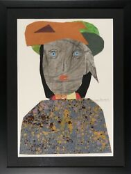 Max Papart - Collage And Pencil Original - La Woman The Eyes Blue
