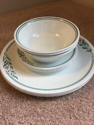 Corning Corelle Rosemarie Dishes, White Dinner And Bread Plates, Plus Soup Bowls