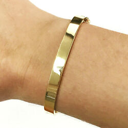 Solid 14k Yellow Gold Flat Plain Oval Bangle Bracelet Heavy Wide 6mm 6.5 Inches