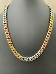 12mm Men's Miami Cuban Link Chain 3 Tri Color Real Gold Over Stainless 18-30