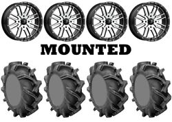 Kit 4 High Lifter Outlaw 3 Tires 38x9-22 On Msa M38 Brute Machined Wheels Pol