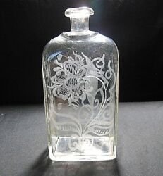 Beautiful Early Antique Hand Blown Stiegel Etched Glass Bottle Late 1700's