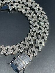 Mens 18mm Baguette Prong Cuban Chain Solid 925 Silver 18quot; Choker 30quot; Real Iced $392.69