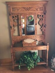 Rare Carved Oak Antique Hall Tree late 1800's Early 1900's Dragon Sun