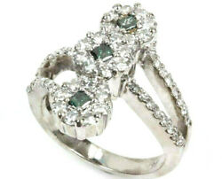 1.5 Ctw Natural Blue And White Diamond Solid 14k White Gold 3 Flower Cluster Ring