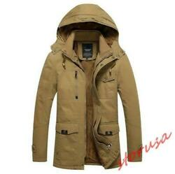 Winter Men's Outdoor Hooded Long Jacket Military Parka Fur Lined Duffle Coat New