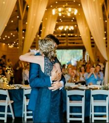 Mother Of The Groom Or Bride Dress For Wedding Navy Blue And Open Back
