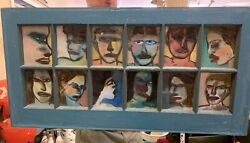 Gregory Grenon Original Painting On Reverse Glass Face Language 1983 17.5x35