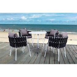 Leisuremod Spencer Modern 5 Pc Cast Iron Rope Outdoor Patio Dining Set In Black