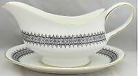 Wedgwood Astor Black On White-newer Gravy Boat And Underplate